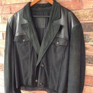 Vintage 90s Leather & Suede Jacket Men's M Girbaud